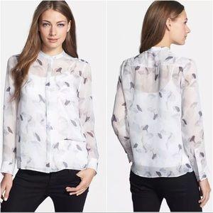 Theory 'Brindan P.C.' Print Sheer Silk Shirt
